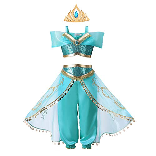 Pettigirl Girls Teal & Gold Princess Dress Up Costume 2Piece Pants Outfit (4 Years, Costume&Crown)