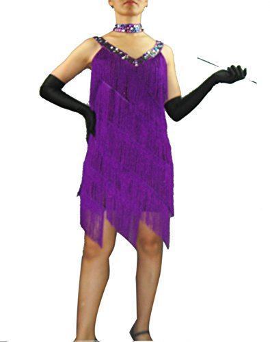[Retro Bling Vintage Clothes Great Gatsby Flapper Dresses Costumes Medium Purple] (Gatsby Dress Cheap)