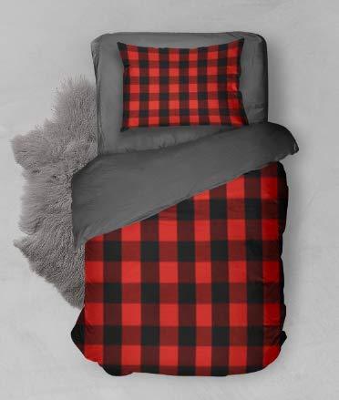 - Toddler Bedding Red and Black Buffalo Check Woodland Adventure - 3 Piece Toddler Big Boy Bedding - Handmade in America