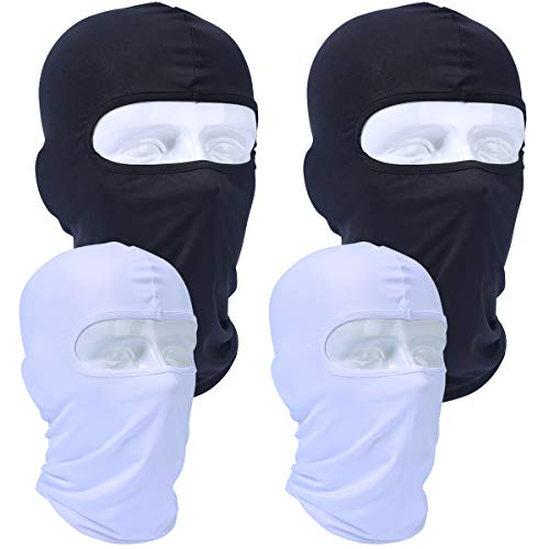 AXBXCX 4 Pack - Motorcycle Balaclava Face Mask Windproof Ski Neck Gaiter Dustproof UV Protection for Hunting Cycling Motorbike Skiing Snowboard ATV Dirtbike 2 White +2 Black