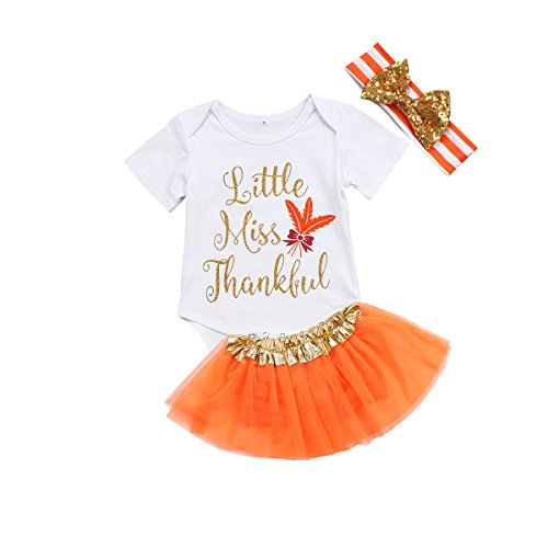 Minesiry Thanksgiving Baby Girl Outfit Infant Romper Pumpkin Tutu Dress Headband 3pcs Set (0-3 M, White+Pumpkin)]()