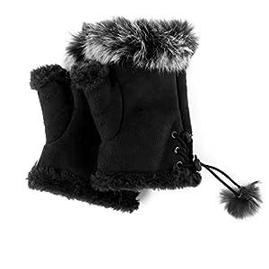 Novawo 2pairs Women Winter Warm Fingerless Gloves Texting Gloves Wrist Warmer Black Free Size