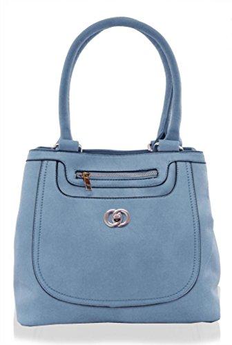 Sky Faux Kukubird Handbag Tote Blue Double Medium Designer Pocket Size Front Leather qqRtUnvSx