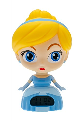 BulbBotz Disney Princess Cinderella Kids Light Up Alarm Clock | blue/yellow | plastic | 7.5 inches tall | LCD display | boy girl | official - Disney Plastic Clock