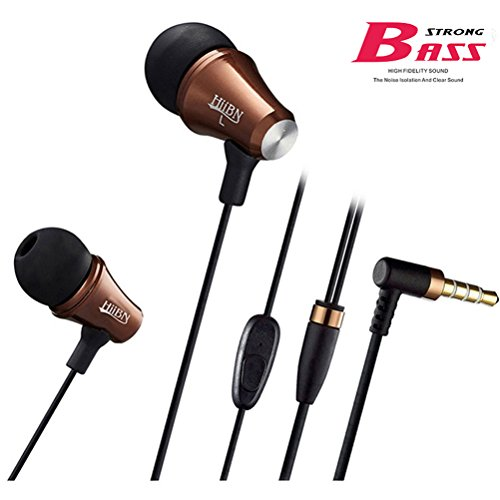 Earbuds with Microphone,Noise Cancelling in ear Headphones Stereo Sound Strong Bass(coffee)