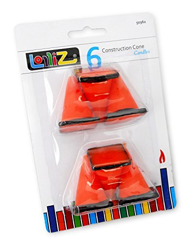 LolliZ Birthday Candles Construction Cones. Pack of 6. Orange with Black