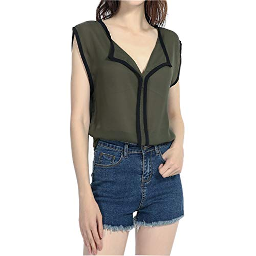 (Tantisy ♣↭♣ Women's Casual Chiffon Tops ✿ Summer Sleeveless V-Neck Breathable Blouse Multiple Styles Wild Shirt Army Green)