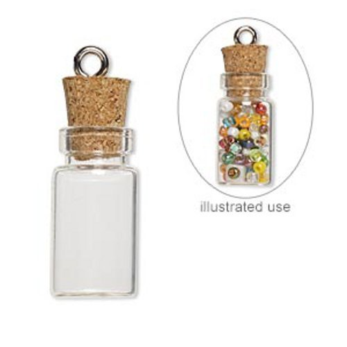Snippets Printed (20 Mini Glass Bottles 1-inch Message Treasure Charm Pendant Kit Makes 20 Bottle Pendants)
