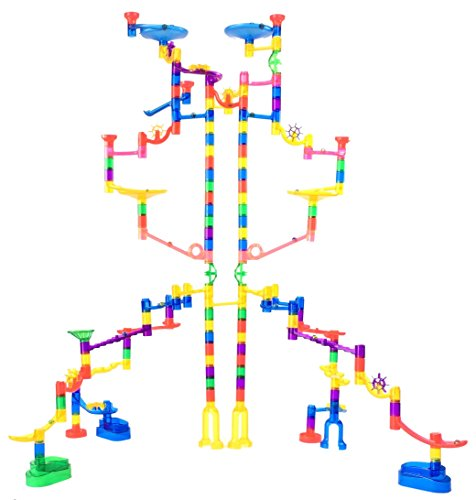 Image of the Marble Genius Marble Run Extreme Set - 125 Translucent Marbulous Pieces + 20 Glass Marbles