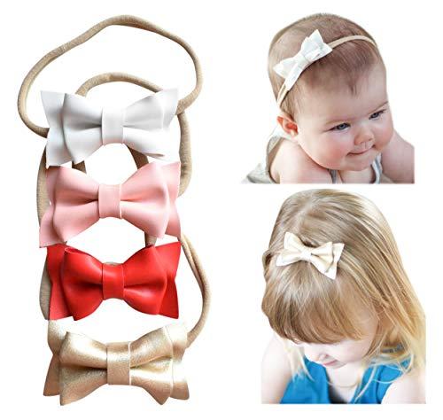 California Tot Bows in Soft & Super Stretchy Nylon Headbands for Newborn, Toddler, Girls Set of 4 (Manhattan Set)