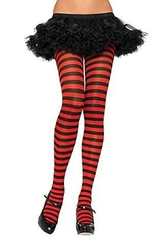 Leg Avenue Women's Plus-Size Nylon Striped Tights, Black/Red, 1X-2X