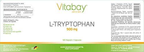 L-Triptófano, 500 mg, 120 Cápsulas: Amazon.es: Salud y cuidado ...