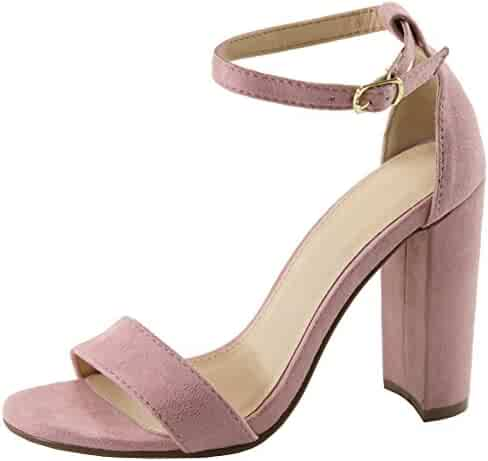 c3f31c906d74 Cambridge Select Women s Open Toe Single Band Buckle Ankle Strappy Chunky  Wrapped Block High Heel Sandal