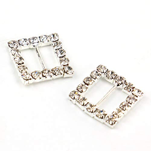 JETEHO Pack of 50 Square Silver Tone Diamante Crystal Rhinestone Buckle Chair Sash Ribbon Slider for Wedding Invitation Letter,15mm ()