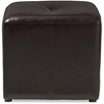 Amazon Com Baxton Studio St 20 Brown Ottoman Lave Cube