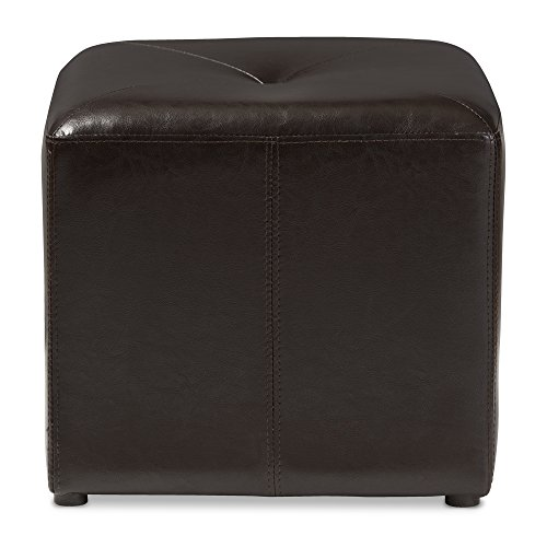 Baxton Studio Brown Lave Cube Shaped Bonded Leather Ottoman, Small (Small Leather Footstool)