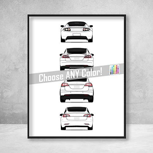 (Tesla Car Poster Print Wall Art of the History and Evolution of Tesla Motors Generations Rear View (Car Models: Roadster, Model S, Model X, Model 3))