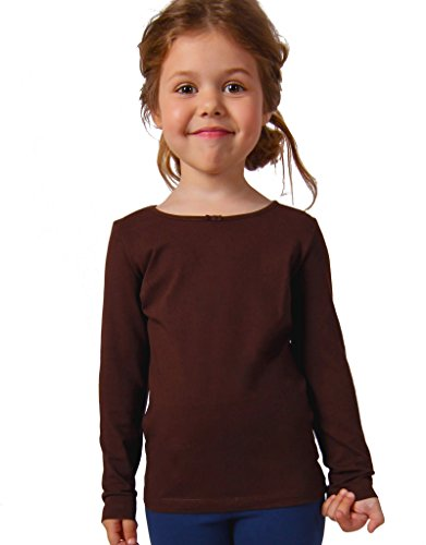 Petite Amelia Little Girls Long Sleeve Bow Top, Size 10, Brown Bow Girls T-shirt
