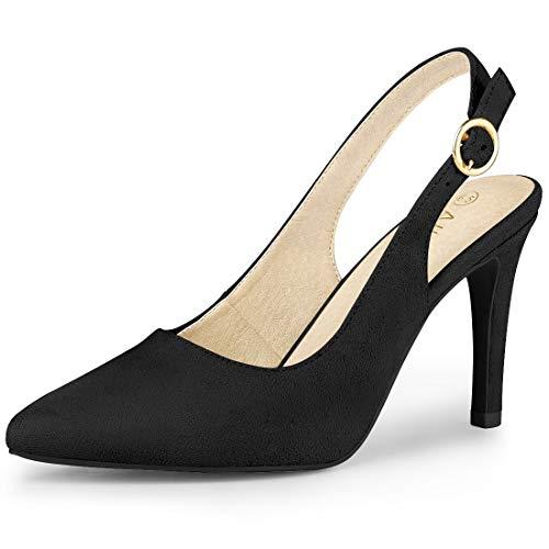 - Allegra K Women's Pointed Toe Pumps Black Slingback Heels - 9 M US