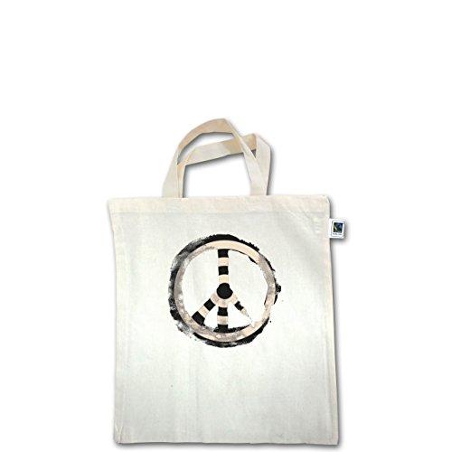 Statement Shirts - Zielscheibe Frieden - target peace - Unisize - Natural - XT500 - Fairtrade Henkeltasche / Jutebeutel mit kurzen Henkeln aus Bio-Baumwolle