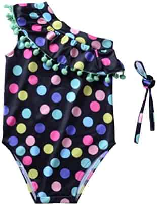 c45e1b307a5d1 ANJUY Baby Toddler Girls Swimsuit Colorful Dots Pompoms Bikini Set Swimwear