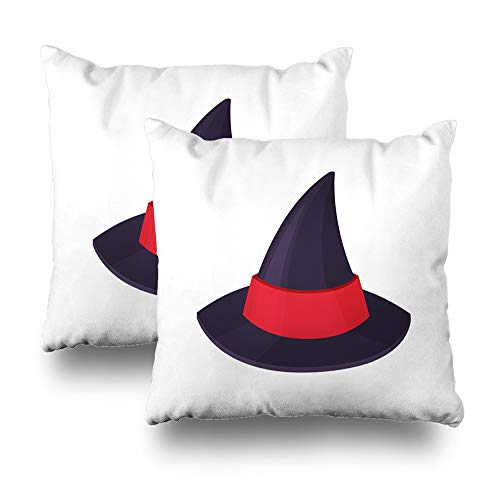 (Kutita Set of 2 Decorative Pillow Covers 18x18 inch Throw Pillow Covers, Classic Purple Red Halloween Carnival White Pattern Double-Sided Decorative Home Decor)