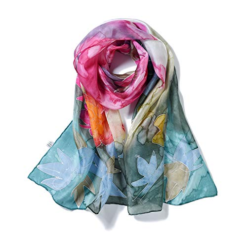 Invisible World Women's 100% Mulberry Silk Scarf Long Hand Painted Spring Floral (Scarf Thing)