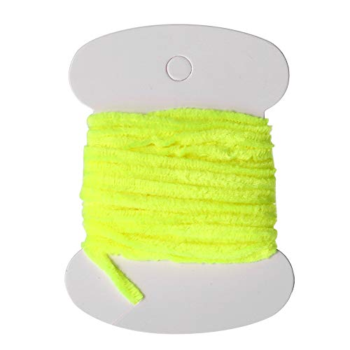 1 Card Nylon Fishing Flies Tying Body Material Fly Tying Tinsel Chenille for Woolly Bugger Worms Rayon Chenille Yarn Fly Fishing Yellow