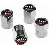 JK Emporium Dustcaps Audi VC09 Staubschutzkappen für Autoreifen, verchromtes Metall