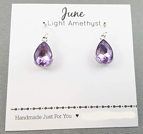 June Birthstone Earrings - Light Amethyst Crystal Sterling Silver Teardrop Earrings - Gift for Her ()