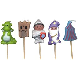 Medieval Theme Pick Candles - Knights & Dragons x 5 by Valiant