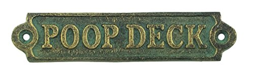 Verdigris Cast Iron Poop Deck Plaque 5  Wide