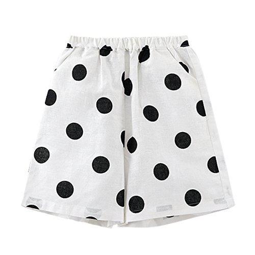 Brushed Cotton Wave - Anglebay Norway Summer New Children's Casual Shorts SOYA Wave Point Wide Leg Pants FFWX005 (39in (3~4T))