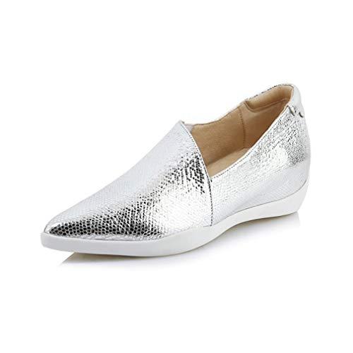 Y Plata De Cuero Conducción Puntas Caminar gold Mujeres Yan Mocasines Novedad Las Pisos Oro Slip Zapatos Otoño Silver ons Primavera 37 p8x5qTw