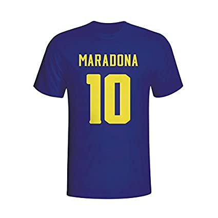 buy popular 235f4 9be0e Gildan Diego Maradona Boca Juniors Hero T-Shirt (Navy)