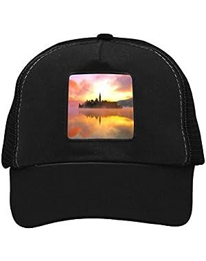 Unisex Sunset Bled Lake Adjustable Classic Hiphop Hat Baseball Cap Snapback Dad Hat!