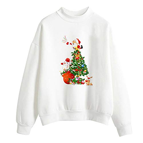 (Clearance Sale for Women Tops.AIMTOPPY Women Christmas Print Long Sleeve Ladies Blouse Pullover Tops Shirt)