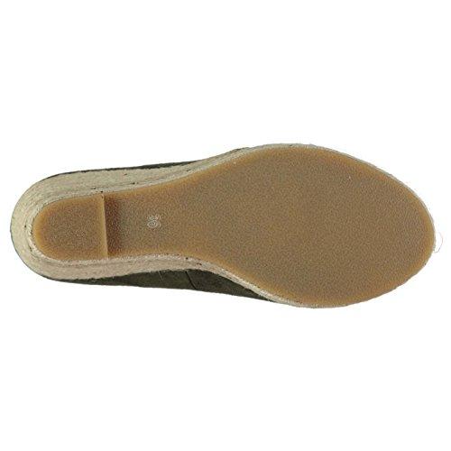 Full Circle Mujer Hessian Wedged Zapatos Señoras Zapatillas Calzado Casual Caqui 5 (38)