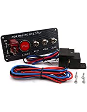 KKmoon Carbon Fibre Panel Toggle Switch Ignition Engine Start Push Starter Button for Racing Car 12V/20A Panel
