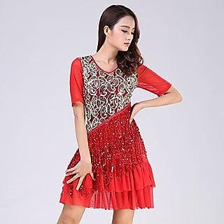 Dancewear Balli Latino-Americani Abiti per Donna da esibizione Poliester/Paillettes Paillettes 1 Pezzo Maniche Corte Naturale VestitiSuitable
