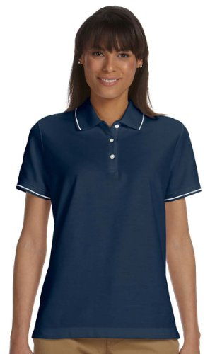 Devon & Jones D113W Ladies' Pima Pique Short-Sleeve Tipped Polo-NAVY/WHITE-2XL