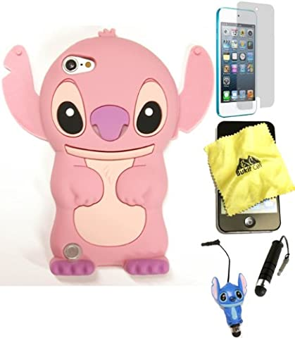Bukit Cell ® 3D Disney Case Bundle - 5 items: PINK 3D Cute Stitch Silicone Case Cover for iPod Touch6TH/ 5th Generation + BUKIT CELL Trademark Cloth + Stitch Figure Stylus Touch Pen + Screen Protector + METALLIC Stylus Touch (Stitch Cell Phone Case)