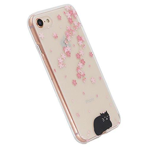 Iphone 8 Cas, Swiftbox Gel Tpu Flexible Clair Imd Pour Iphone 7 Et 8 Iphone Avec Protection D'écran En Verre Trempé (fille Robe Rouge) Fleur De La Cerise Et Le Chat Noir