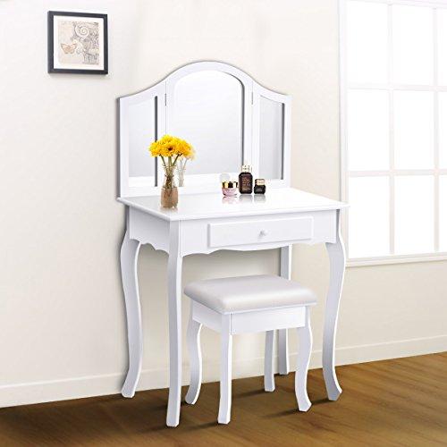 Giantex Bathroom Vanity Makeup Table Set w/Tri-Folding Mirror & Cushioned Stool Dressing Table (White)