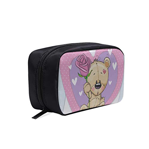 - Teddy Bear With Flowers And Love Portable Travel Makeup Cosmetic Bags Organizer Multifunction Case Small Toiletry Bags For Women And Men Brushes Case