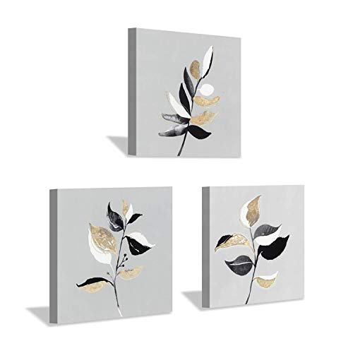 Nature Botanical Canvas Wall Art: Autumn Birch Fallen Gold Leaves Foil Graphic Artwork Painting Prints for ()