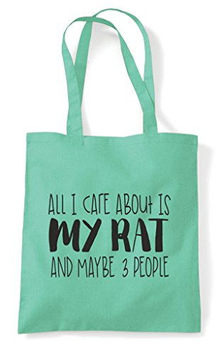 About My I Care Themed Tote Shopper Maybe Three Rat Is Funny Cute People Bag Animal All Mint And qE14q