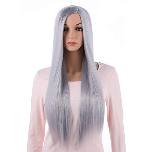 Onedor 31 Inches Long Straight Silver Synthetic Hair Women Full Head Cosplay Wig with Wig Cap ()
