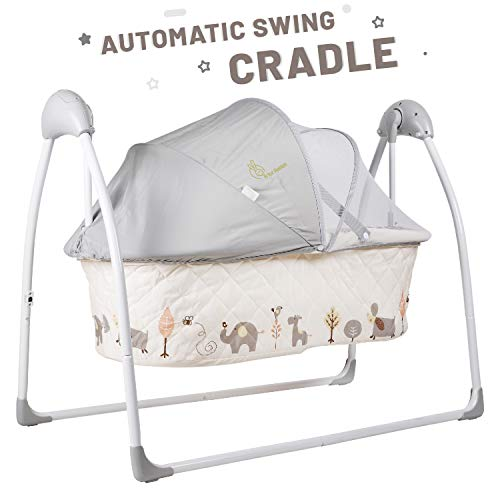 R for Rabbit Lullabies Cradle for Babies -New Born Baby Swing Cradle/Jhula with Automatic Gentle Swing with Mosquito Net(Cream)