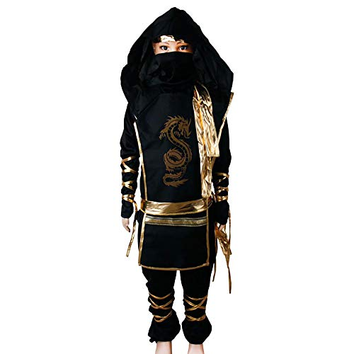 Wraith of East Cobra Ninja Costume Kids Halloween Animal Cosplay Samurai Assassin Boys Jumpsuit with Hood Mask Fancy Dress Outfit (M, Gold Dragon Ninja)